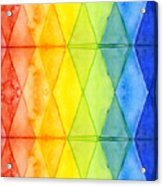 Watercolor Rainbow Pattern Geometric Shapes Triangles Acrylic Print