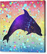 Watercolor Silhouette - Dolphin  Porpoise Acrylic Print
