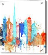 Watercolor Skyline Of Dubai Acrylic Print