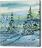 Watercolor - Snowy Winter Evening Acrylic Print