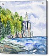 Watercolor - Split Rock Lighthouse Acrylic Print