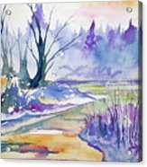 Watercolor - Stream And Forest Acrylic Print