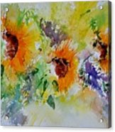 Watercolor Sunflowers Acrylic Print