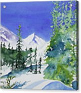 Watercolor - Sunny Winter Day In The Mountains Acrylic Print