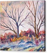 Watercolor - Trees And Woodland Meadow Acrylic Print