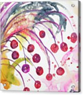 Watercolor - Winter Berry Abstract Acrylic Print