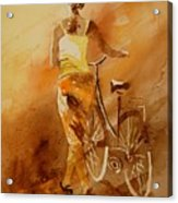 Watercolor With My Bike Acrylic Print by Pol Ledent