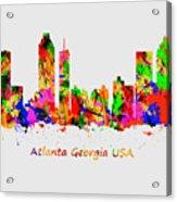 Watercolour Art Print Of The Skyline Of Atlanta Georgia Usa Acrylic Print