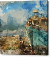 Watercolour Painting Of Abandoned Fishing Boat On Beach Landscap Acrylic Print