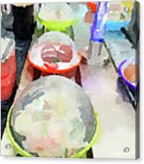 Watercolour Painting Of Sushi Dishes On The Belt Acrylic Print