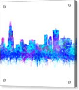 Watercolour Splashes And Dripping Effect Chicago Skyline Acrylic Print