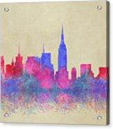 Watercolour Splashes New York City Skylines Acrylic Print