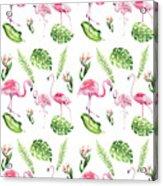 Watercolour Tropical Beauty Flamingo Family Acrylic Print