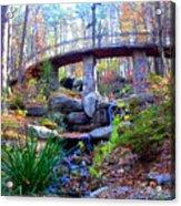 Waterfall And A Bridge In The Fall Acrylic Print