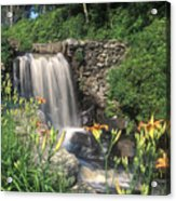 Waterfall And Lilies Moore State Park Acrylic Print