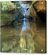 Waterfall And Reflection Acrylic Print