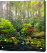 Waterfall At Lower Pond In Japanese Garden Acrylic Print