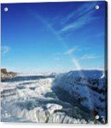 Waterfall Gullfoss In Winter Iceland Europe Acrylic Print