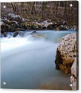 Waterfall In Slovenian Alps Acrylic Print