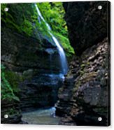 Waterfall In The Gorge Acrylic Print by Mike Horvath