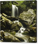 Waterfall In The Spring Acrylic Print