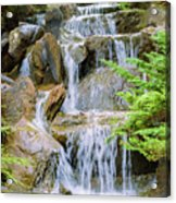Waterfall In The Vandusen Botanical Garden 1 Acrylic Print