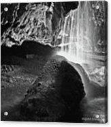 Waterfall Of The Caverns Black And White Acrylic Print