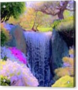 Waterfall Spring Colors Acrylic Print