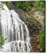 Waterfall With Green Leaves Acrylic Print