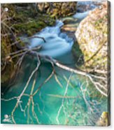 Waterfalls In The Nature Reserve Urederra Acrylic Print