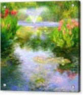 Watergarden In Monet Style Acrylic Print by Crystal Garner