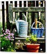 Watering Can And Blue Basket Acrylic Print