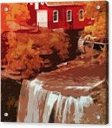 Watermill In Autumn Acrylic Print
