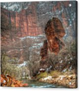 Waters Rushing At The Temple Of Sinawava Acrylic Print