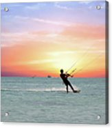 Watersport On Thecaribbean Sea At Aruba Island At Sunset Acrylic Print