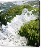 Wave Splash On The Green Rock Acrylic Print
