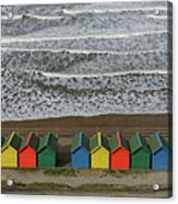 Waves And Beach Huts - Whitby Acrylic Print