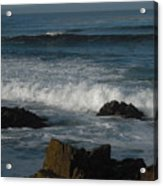 Waves And Rocks Acrylic Print by Sharon McKeegan