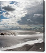 Waves Breaking Against The Beach And Cloud Streaming Above  Skegness Lincolnshire England Acrylic Print