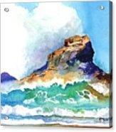 Waves Bursting On Rocks Acrylic Print