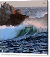 Waves Crash Against The Rocks Acrylic Print