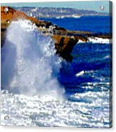 Waves Crashing On The Rocks Acrylic Print