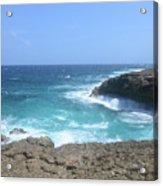 Waves Crashing On To The Lava Rock At Daimari Beach Acrylic Print