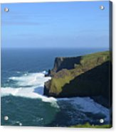 Waves From Galway Bay Crashing Against The Cliff's Of Moher Acrylic Print