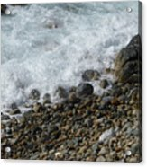 Waves Meet Pebbles Acrylic Print