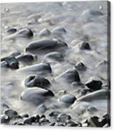 Waves On Cobble-panoramic Acrylic Print