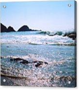Waves On The Mid Beach Rocks At Zipolite  Acrylic Print