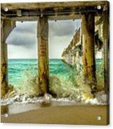 Waves Smash Into The Pier Acrylic Print