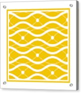 Waves With Border In Mustard Acrylic Print