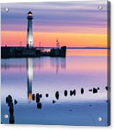 Wawatam Lighthouse In Colorful Predawn Light Acrylic Print